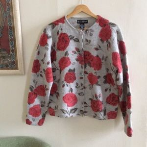 Vintage 100% wool rose cardigan - thick knit